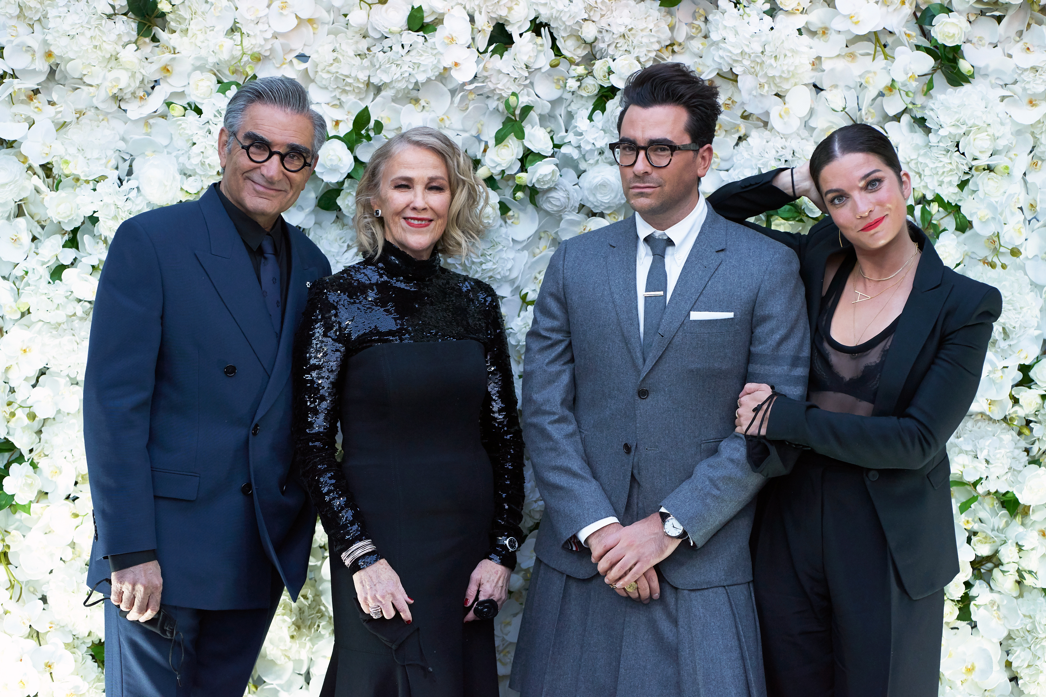 Eugene Levy, Catherine O'Hara, Dan Levy and Annie Murphy arrive at the Schitt's Creek Emmys event.