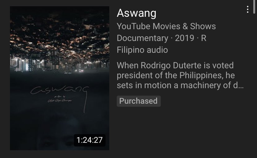 """""""Aswang"""" is now available on Youtube to purchase. Please if you can, watch this film and open your eyes. Pag gising na! It's time. #huwagmatakot #OUSTDUTERTENOW #JunkTerrorBill https://t.co/QvJSAucKjb"""