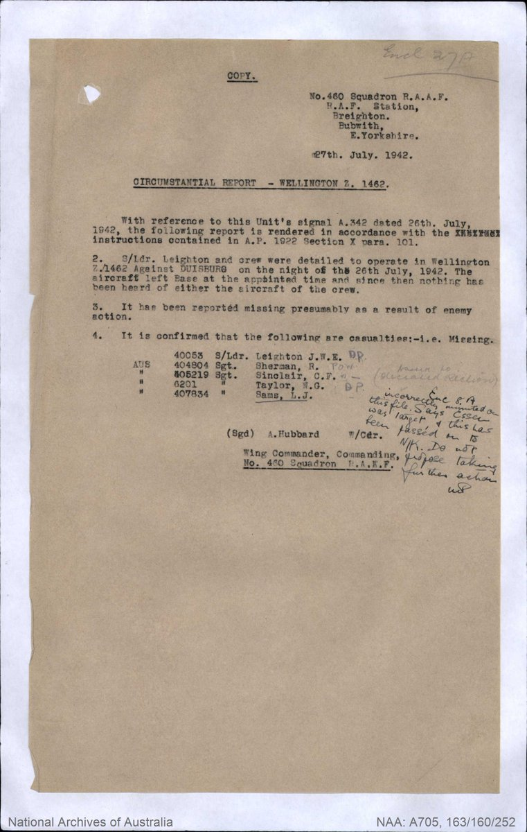 17 of 29The circumstances surrounding the loss of Z1462 and the fate of its crew, were not immediately known. On 27 Jul 1942, Wing Commander Arthur Leonard George Hubbard DSO, first Commanding Officer of 460 Squadron, submitted a circumstantial report (pictured).