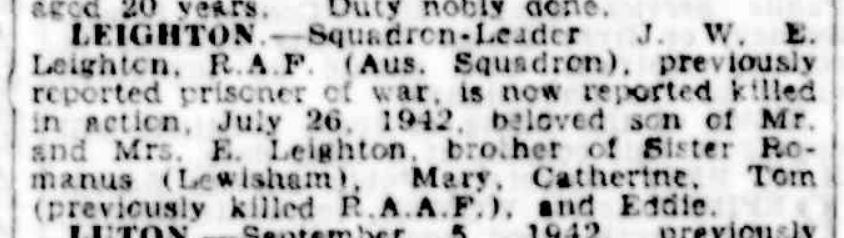 21 of 29On 12 Jun 1943, a death notice for Leighton appeared in The Sydney Morning Herald.