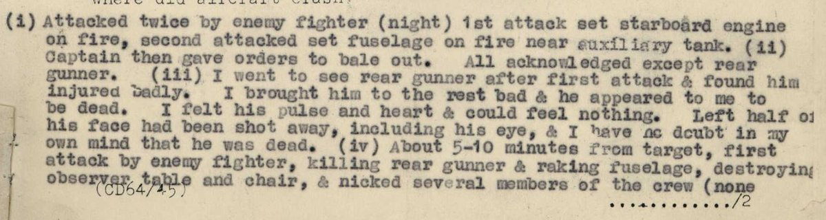 24 of 29Still airworthy, the bomb load was jettisoned and Leighton turned Z1462 for home; but ~2 mins after the first attack, the second ensued, setting the fuselage on fire. At this point Leighton gave the order to abandon the a/c.