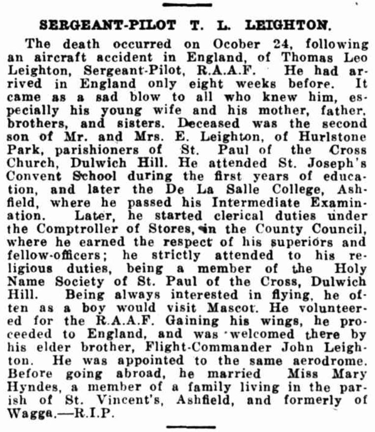 26 of 29For Leighton's parents, this was no doubt a devastating blow following the recent death of their son, Thomas Leo Leighton, who had perished in flying training accident, 24 Oct 1941, at the same aerodrome that his brother was then stationed, 12 OTU at Chipping Warden.