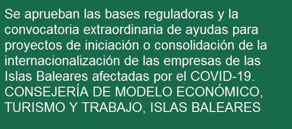 #España #asesoría #internacionalización #iniciación #consolidación #empresas #Covid19 #Baleares #Palma #Calvià #Eivissa #Manacor #SantaEulària #Inca  Cada día TODA la info https://t.co/5TxgFTeepC   Gestionamos las #subvenciones o #ayudas que te interesan https://t.co/SyrcBSdnZA https://t.co/dpi2fGg8aq