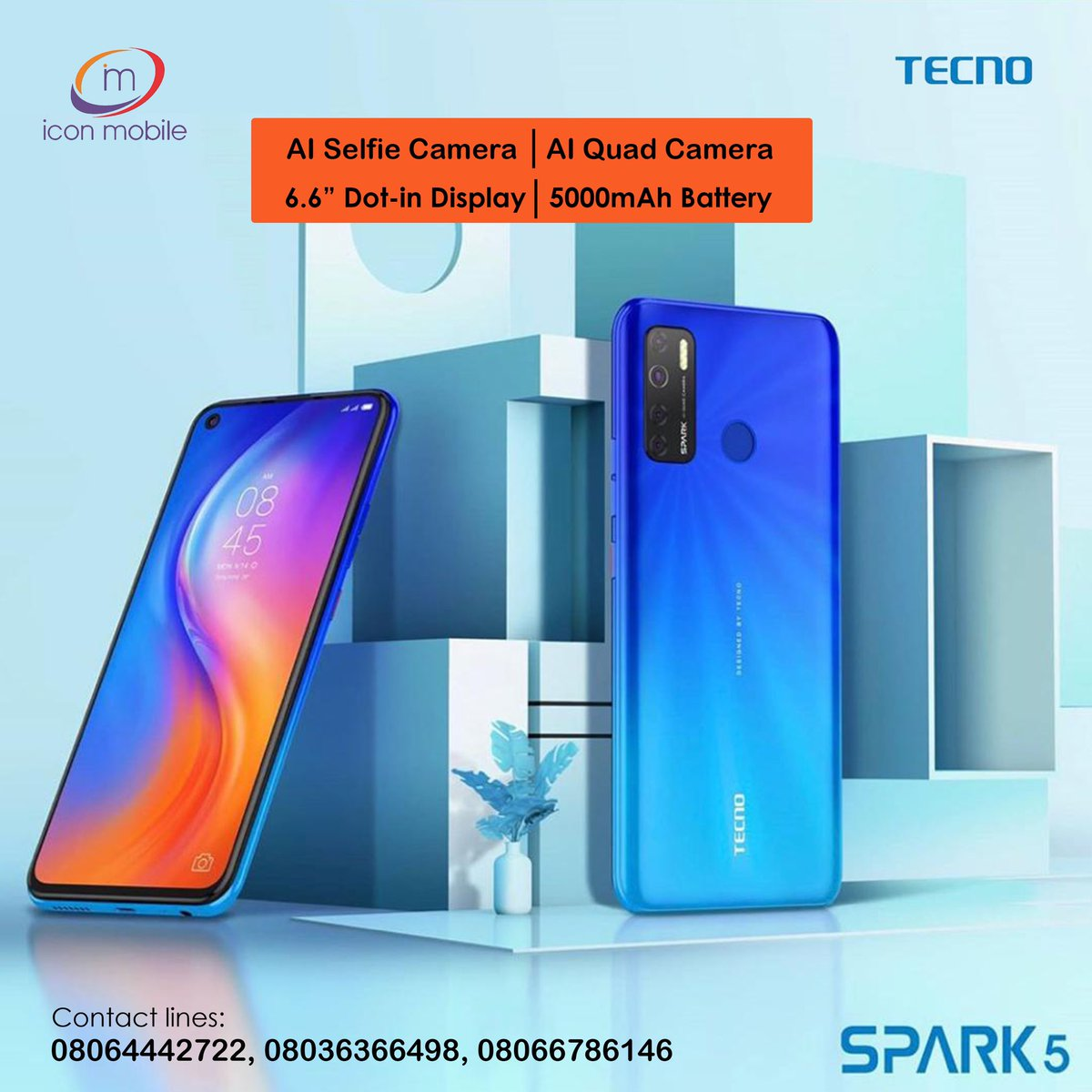 The 13MP main camera of #Spark5 gives you clear, natural and beautiful shots and in a dark environment. The quad rear flash gives brightness to your photography. - Available in all our stores - Contact lines : 08109879367, 08064442722, 08066786146 #iconmobileng #tecno https://t.co/P8DRPx2sXf
