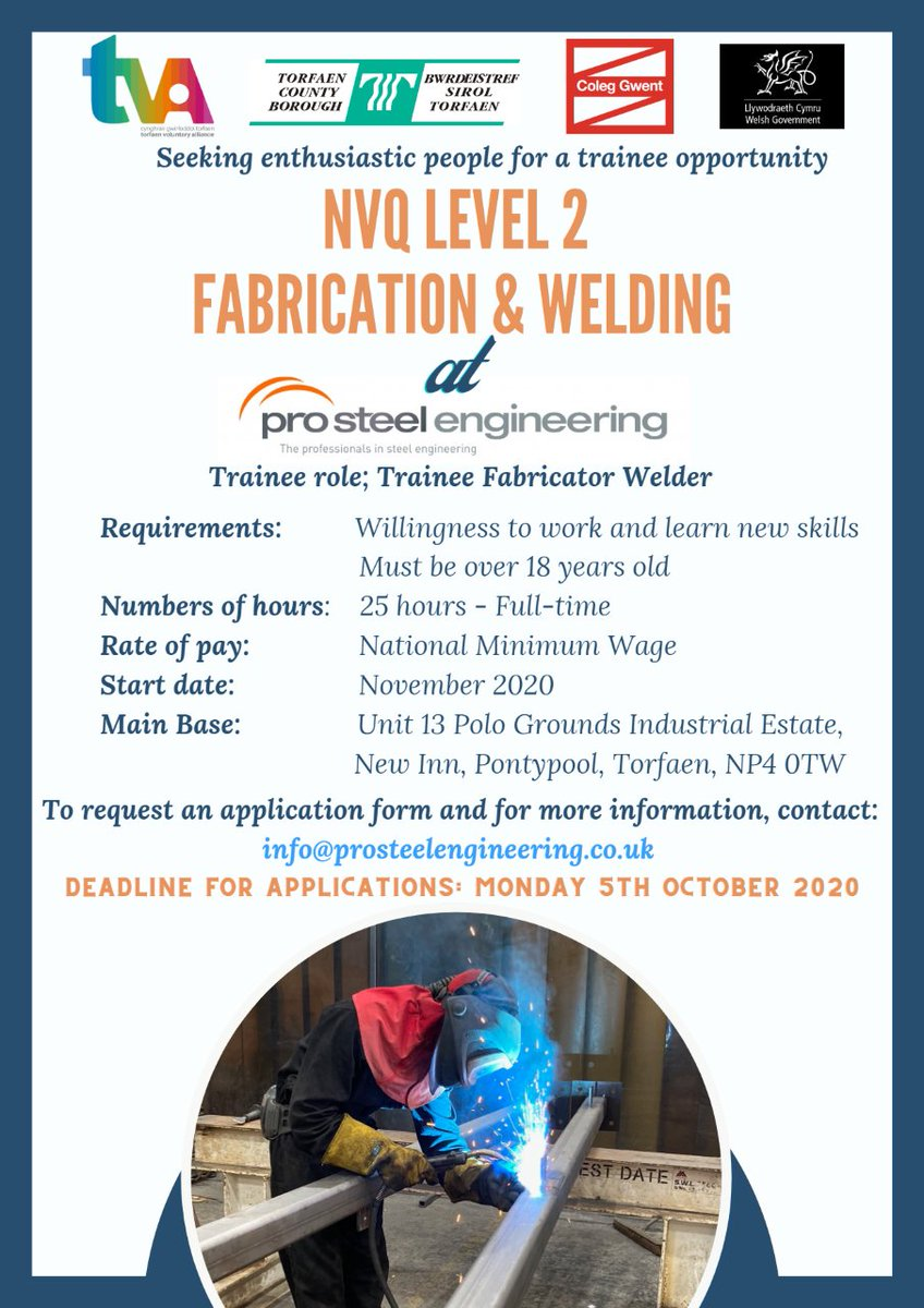 Looking for a new career? Pro Steel Engineering have teamed up with Torfaen Council and TVA to provide a NVQ Level 2 Fabrication & Welding. For more info/apply visit:  https://t.co/b9Hie6D045 #training #employment #servingthosewhoservedus https://t.co/IcoHO1OpNe