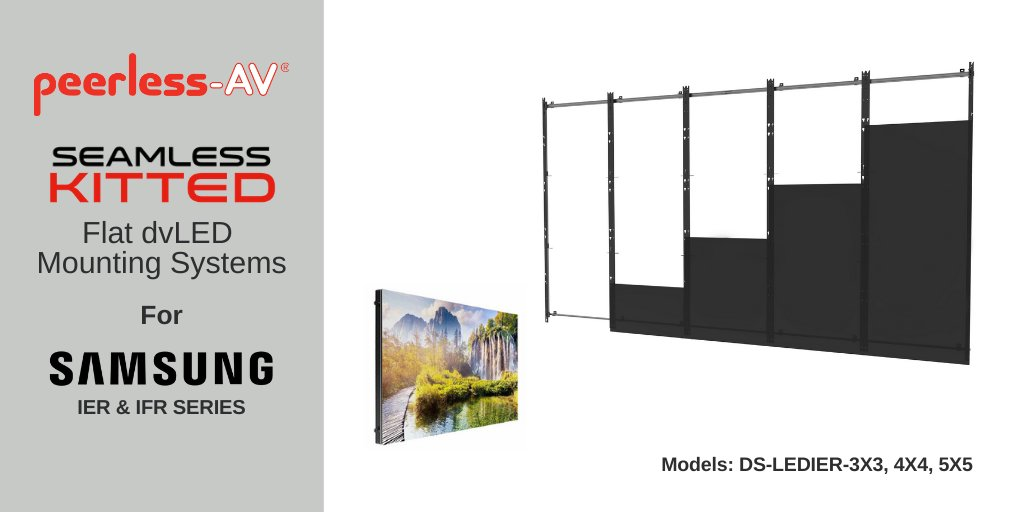 Peerless-AV offers dedicated dvLED Video Wall Mounts for @Samsung IER/IFR Series Direct View LED Displays. One of eight models in the new SEAMLESS Kitted Series, find out more here: https://t.co/idXt6p2oNI  #avtweeps #dvled #mountingsolutions #innovation #leddisplays https://t.co/Kvw7nVuVe9