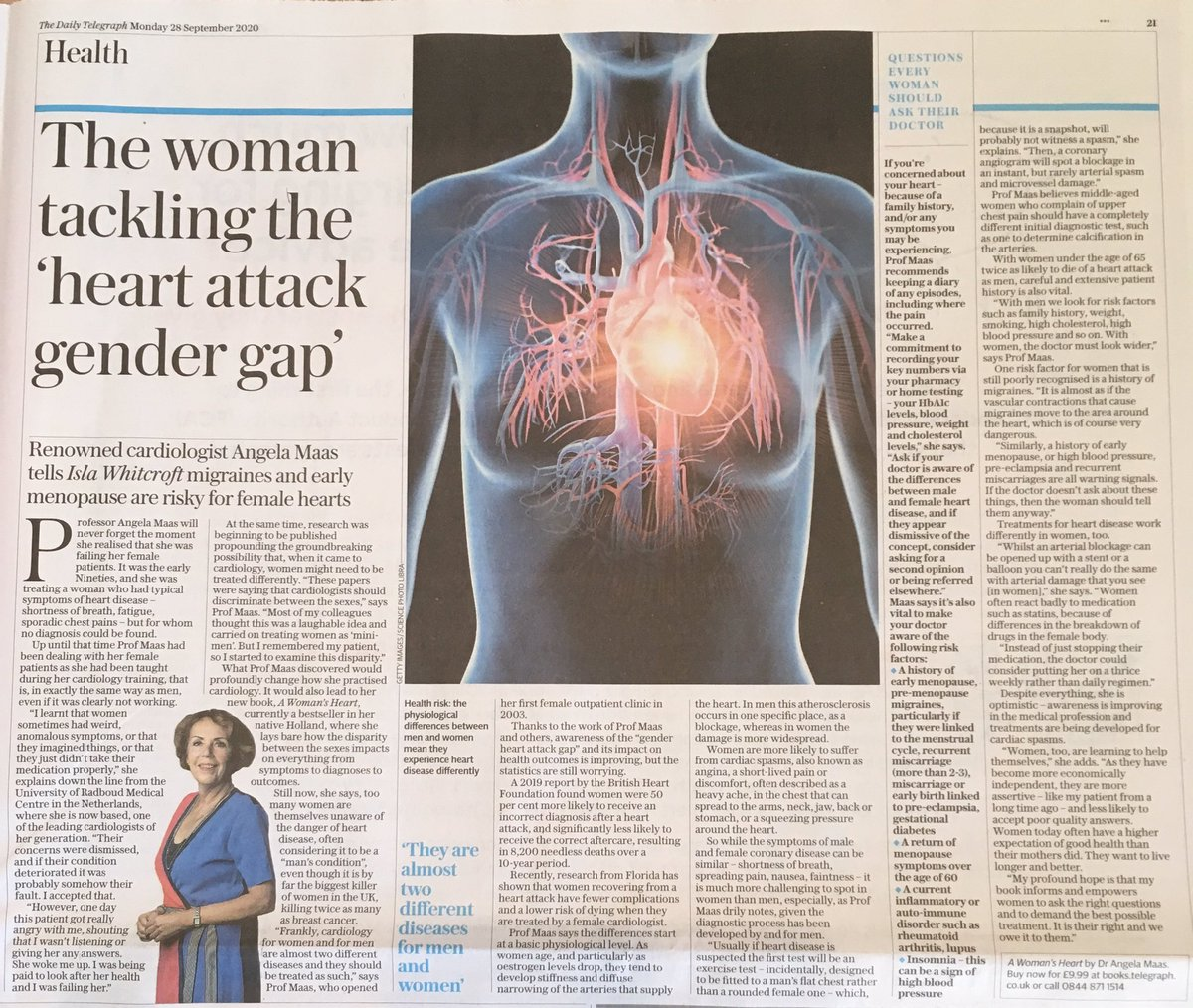 Find out why female heart health really matters with @MaasAngela as she talks about her book #AWomansHeart and the shocking gender heart attack gap in today's @Telegraph @Octopus_Books https://t.co/05HMn12uAB