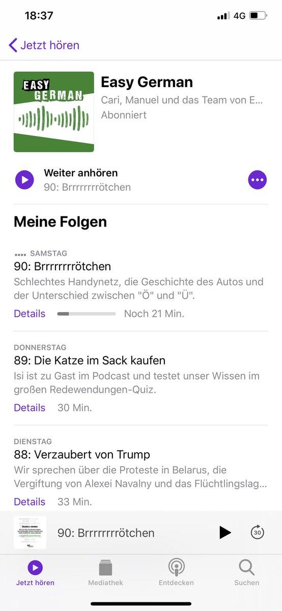 สำหรับคนที่อยากฝึกภาษาเยอรมัน แนะนำ podcasts นี้ #easygerman ฟังง่ายสำเนียง Hochdeutsch ไม่เร็วเกินไป หรืออยากดูจากยูทูบก็มีหลายเรื่องแนะนำ มีมากว่า 50 เรื่อง #Deutschlernen #Easygerman https://t.co/rTI75NsPiK
