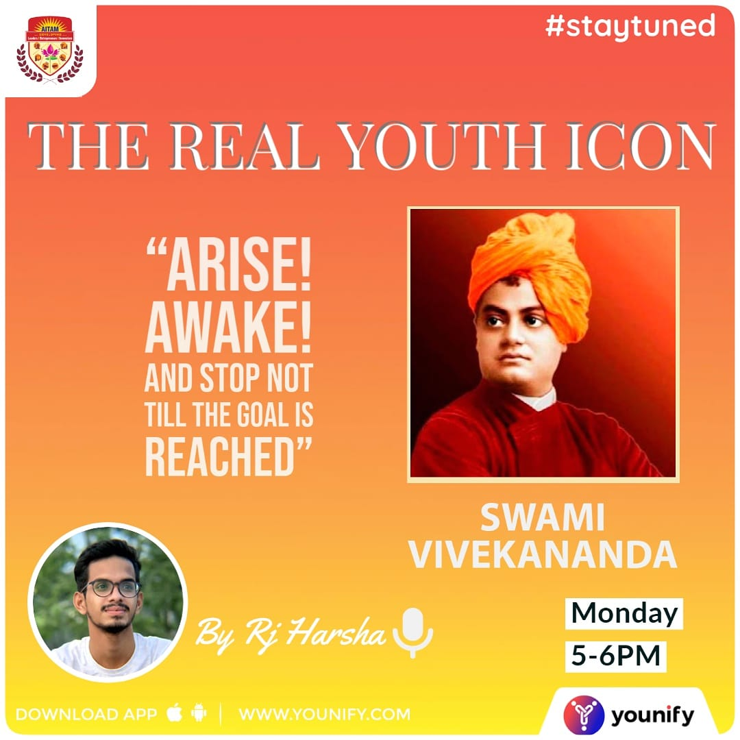 Chalo, 🎧let's get into another inspiring story 😎of Youth Icon Swami Vivekananda with our very own Rj Harsha🎙. #YouthIcon #swamivivekananda #MondayMotivaton #mondaythoughts  @Younify_Radio @AitamOfficial https://t.co/cbeWiPxnIu