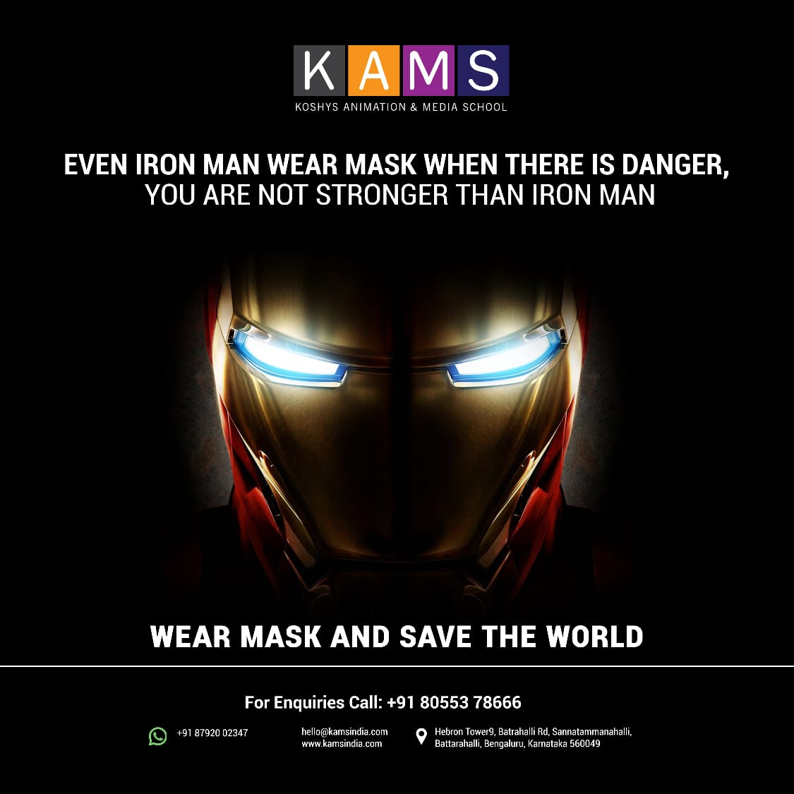 You become a superhero when you act responsibly❗  Wear your mask to stay safe and save the world. 😷🌍  #animation #2D #3D #designcollege #admissions #animationcollege #VFX #graphicdesign #drawing #art #design #kams #bangalore #college https://t.co/TorXmHwzCQ