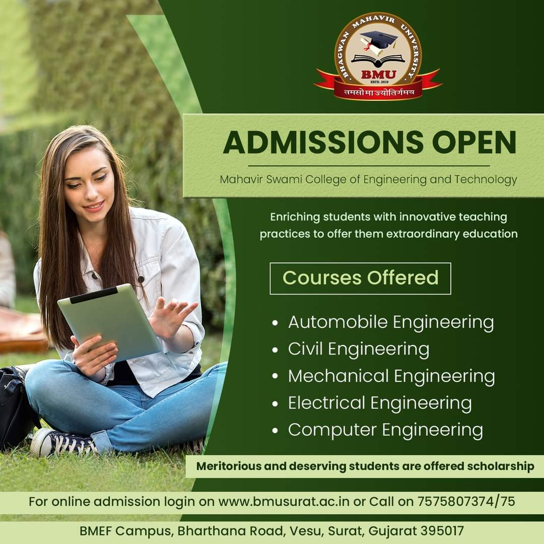 ADMISSIONS OPEN! BMU is excited to welcome you to the campus and provide you with the best education experience. Visit our website https://t.co/422E4UHmfG or call on 7575807374/75 to get all the details.   #bmu #bhagwanmahavir #bmusurat #collegesinsurat #admissions #btech https://t.co/smqdKK47E2