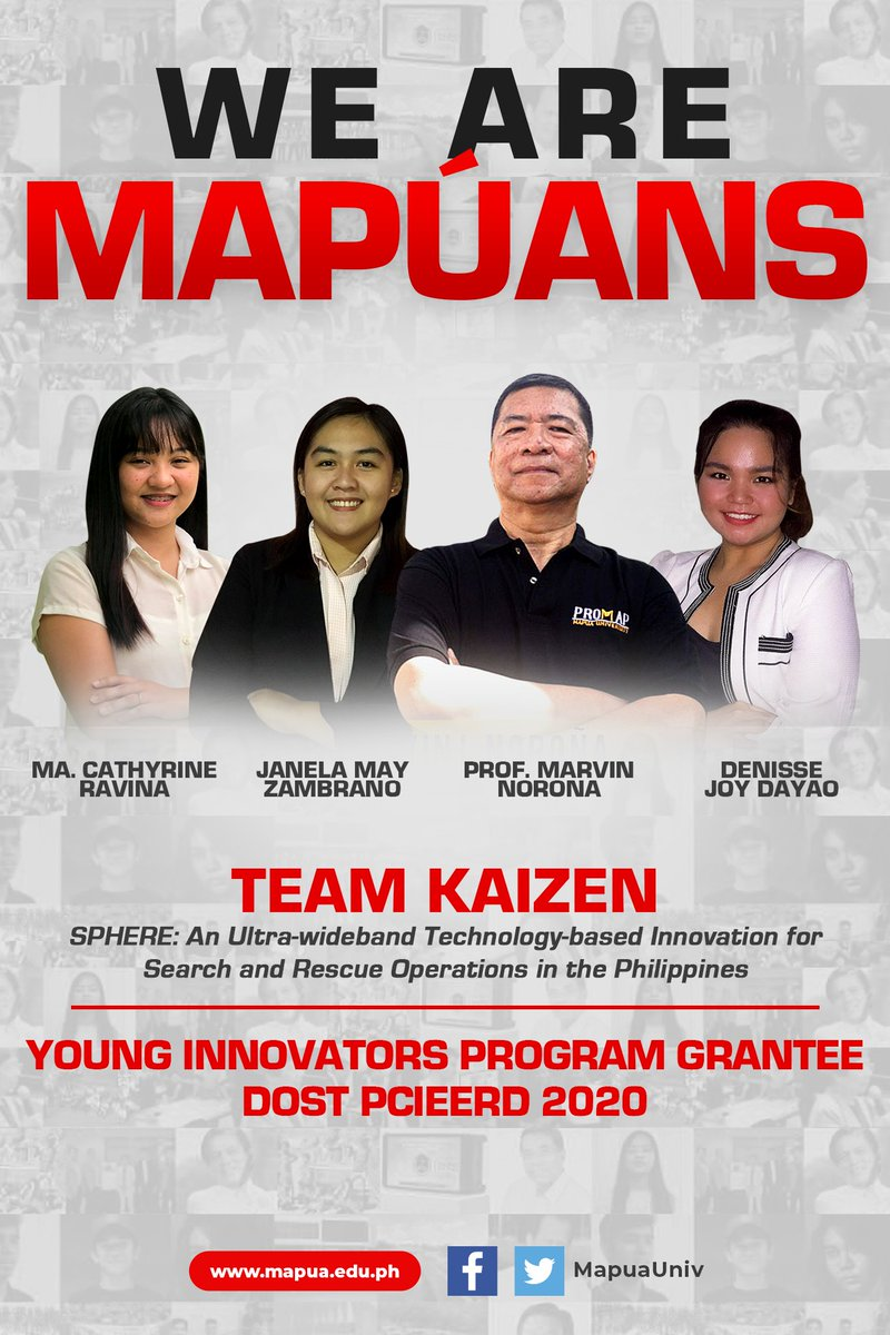 Mapúa University takes pride in its School of IE-EMG students Ma. Cathyrine Ravina, Janela May Zambrano, and Denisse Joy Dayao of Team KAIZEN for emerging as one of the nine 2020 Young Innovators Program (YIP) grantees of the DOST-PCIEERD. https://t.co/ZSTZiaHvlt