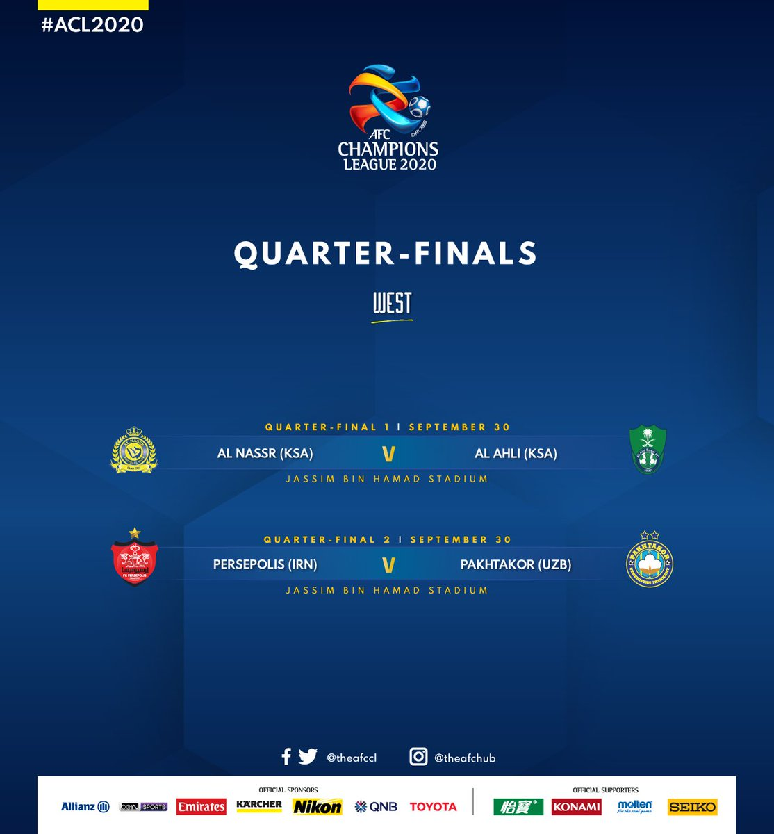 🤩  We are certainly in for a treat!  Which match are you most looking forward to see?  #ACL2020 https://t.co/rJBkl6bch0
