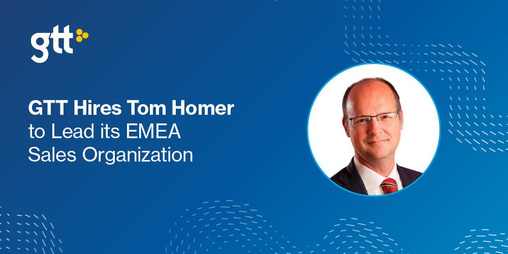 GTT anställer Tom Homer till att leda EMEA-försäljningsorganisation   https://t.co/96whOH0UC1 https://t.co/2tFx7cxgPs