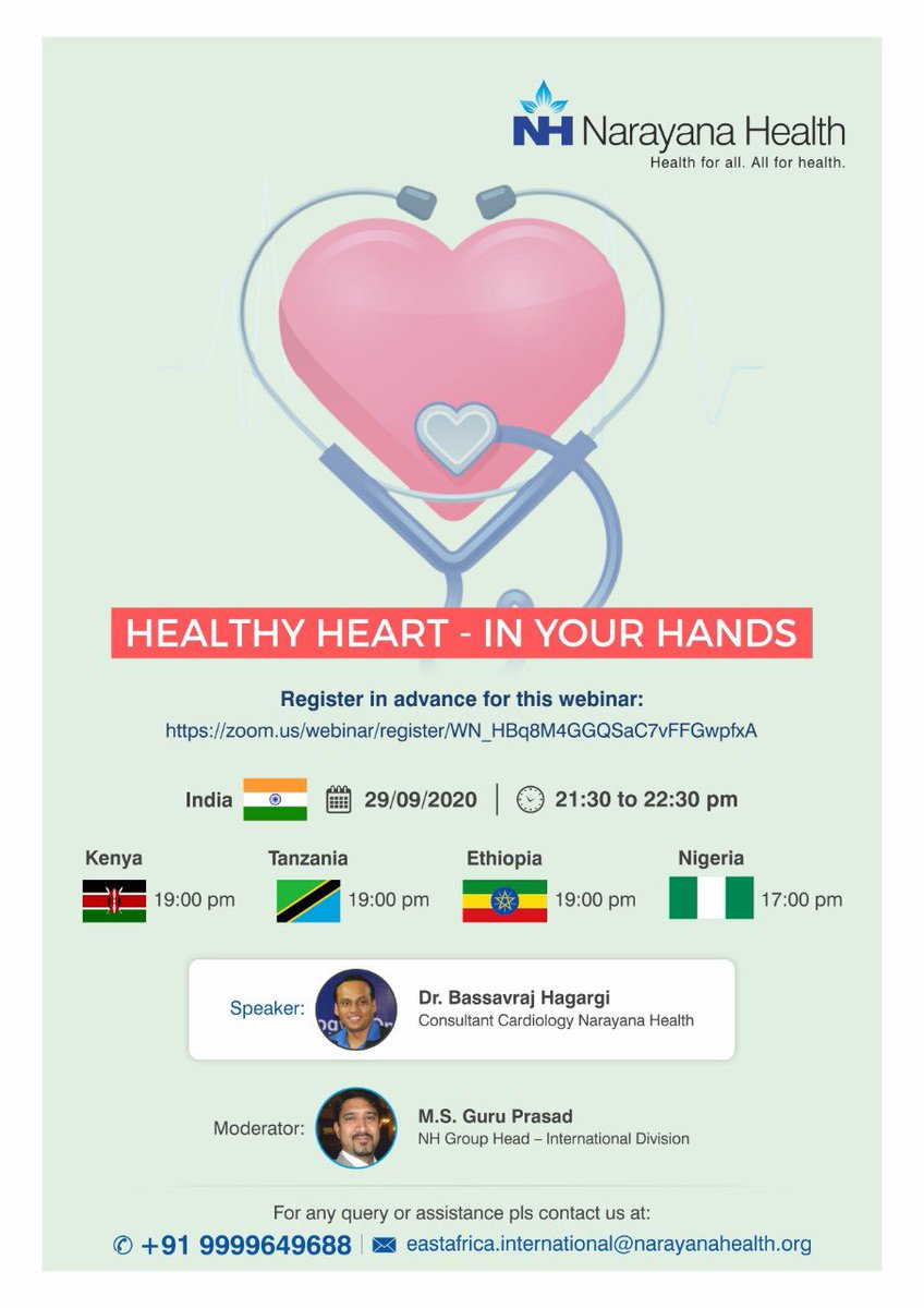 On Occasion of World Heart Day. We glad to invited to join a webinar : *Healthy Heart - In Your Hands.* on  Sep 29,2020 at 17:00 pm.  Register in advance for this webinar: https://t.co/lnDE6JonOc.   #SierraLeone https://t.co/dznugaKJgD