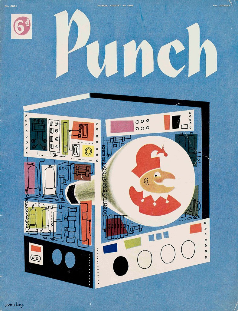 Your PUNCH colour cover for today. Smilby (Francis Wilford-Smith) 1956. Mr P on screen - the small one. #tv #television #media #illustration #graphicdesign #thebox #retro #vintage #Fifties https://t.co/kLUPqBDzrk