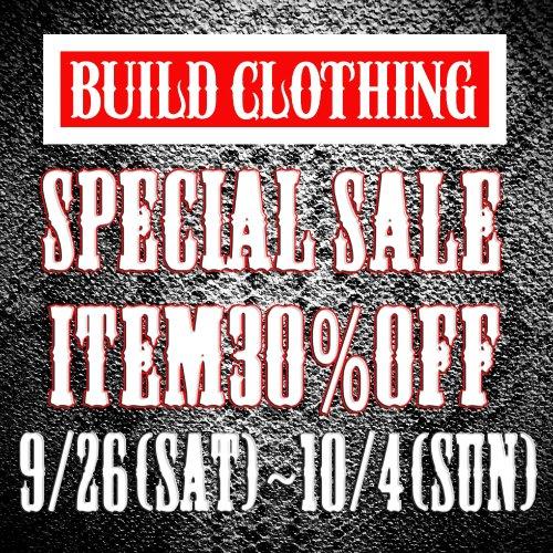 "BUILD CLOTHING SPECIAL SALE 開催中  9/26(Sat)~10/4(Sun) "" Sale Item 30% OFF ""  https://t.co/69f6QcNFog  #sale #tshirts #whites #boots #leather #tシャツ #ホワイツ #ブーツ #レザージャケット #セール https://t.co/ZI40QJBka7"