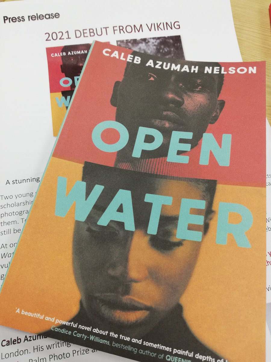 A stunning, shattering novel about two Black British artists falling in & out of love.  Thank you @CalebANelson for your letter & gifted proof copy of #OpenWater Iooks like an emotional beauty of a read 📖😍 Out 4th February 2021 @VikingBooksUK @PenguinHuddleUK #bookpost https://t.co/klrXJ0voQA