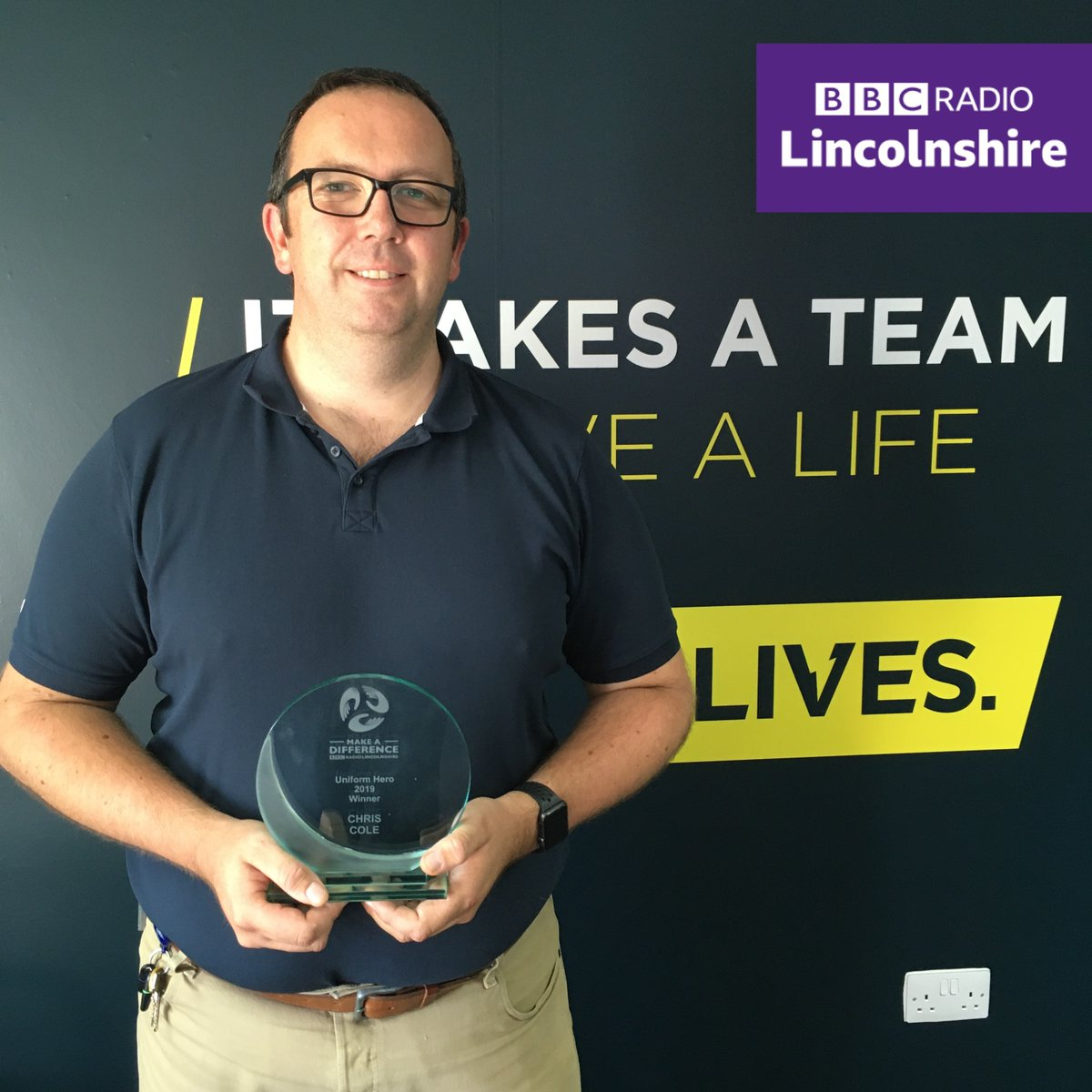 At last! We've been able to deliver the trophies to our 2019 #BBCMakeADifference award winners!  Hear Chris Cole (@nashetho), @liveshq Paramedic - 1 of our #UniformHero winners being surprised by @melvynprior with a #sociallydistanced trophy presentation: https://t.co/9D35cc0Oe7 https://t.co/5xu4R51WuG