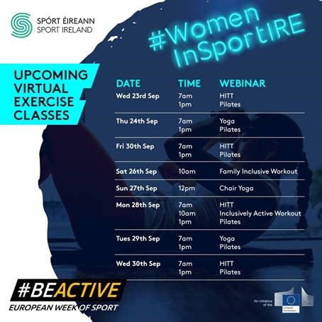 We like to remind you that @sportireland still have a series of fitness classes and webinars the next few day to help you #BeActive at home for #EuropeanWeekofSport   For more info https://t.co/ZxRcSn2Kqb  #Mayo #BeActive #BeActiveAtHome #WomeninSportIRE https://t.co/3N6xz8hsGb