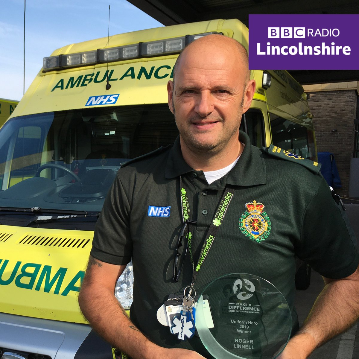 Any excuse to get out the black tie eh @melvynprior! 🕺  We've finally been able to deliver Roger Linnell's (@LinnellRoger) #BBCMakeADifference #UniformHero award!  The @EMASNHSTrust & former @LNAACT paramedic was a little surprised! 👂 to his reaction: https://t.co/9D35cbJcPx https://t.co/cB52Kb8w94