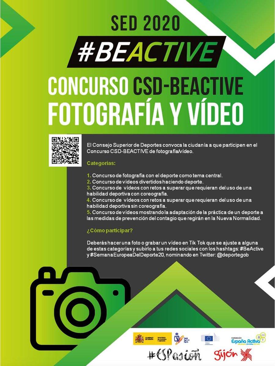 ¡¡CON-CUR-SA-ZO de la Semana Europea del Deporte 2020!!  🆙 Participa haciendo una foto 📸 o  vídeo 📹 en Tik Tok y subiéndolo a tus redes sociales mencionando al @deportegob y usando los hashtags #BeActive #BeActiveBeSafe y #SemanaEuropeaDelDeporte20  Vía: @InjuveSpain https://t.co/ekuIUBF4Di