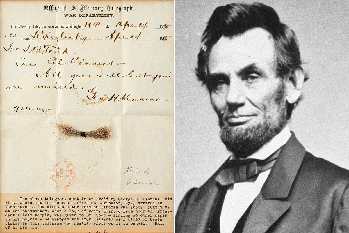 How many locks of hair were taken from Abraham Lincoln after he died? I'll be answering this and other questions TODAY during a Facebook Live at 3pm EST (8pm U.K.) with @Ripleys about their latest acquisition. More info here: https://t.co/5W65q8A21b https://t.co/kpGwrTsFGz