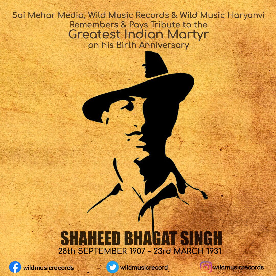 Wishing the greatest Martyr of India, A very happy Birthday anniversary! Lets all pay tribute to the Brave Soul of Shaheed Bhagat Singh! Jai Hind🇮🇳  #BhagatSingh #shaheedbhagatsingh #happybirthdaybhagatsingh #JaiHind #bharat #coronavirus #Corona #MondayMotivation #MondayMorning https://t.co/RT3wDlJ7B2