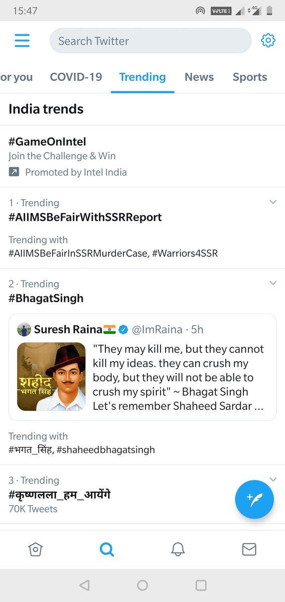 The Power of SSRians .... Trending No 1 We need justice for SSR @itsSSR  @vikirti @shwetasinghkirt @_mallika_singh @ishkarnBHANDARI @sushantf3 @smitaparikh2 @iujjawaltrivedi #AIIMSBeFairWithSSRReport https://t.co/OD9xBJftJu