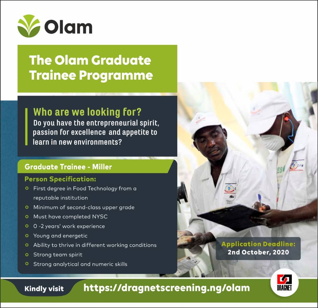 Applications are open for young and energetic trainees in Flour Milling.  Interested and qualified candidates should click here to apply:   https://t.co/8KDBXoLjIU  Deadline is  October 2, 2020.  @DragnetNigeria   #olam #dragnet #MondayMotivation #graduatetrainees #foodscientists https://t.co/v3xOiNkiKs