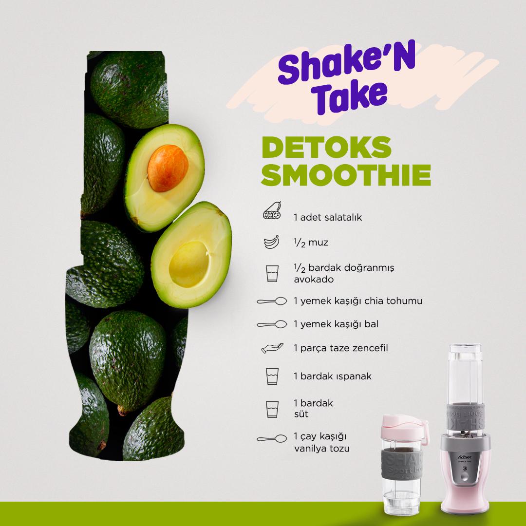 İster sabah kahvaltısı, ister sağlıklı bir atıştırmalık…🥰 Gününüze lezzet katacak Detoks Smoothie tarifimizi denemeye hazır mısınız? 🥑 👉🏻Yapmanız gereken tek şey; tüm malzemeleri Shake'n Take'in haznesine eklemek ve karıştırmak. Afiyet olsun! 😍 #Arzum #ArzumShakeNTake https://t.co/8IqoQNTU6A
