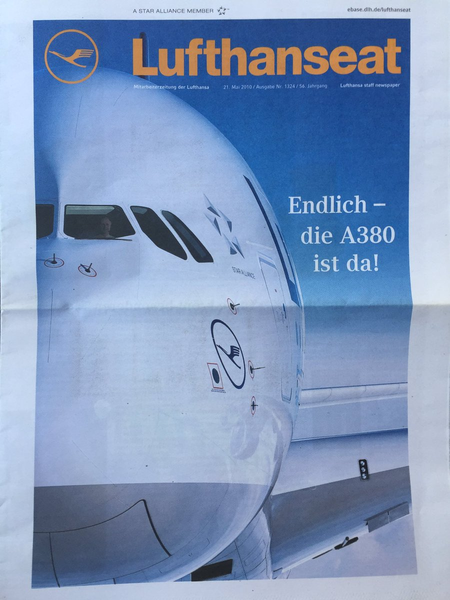 """This was the headliner of the @lufthansa staff paper just ten years ago. Today it could be """"Shame, the #A380 is gone"""" #avgeek https://t.co/aCK58onHWI"""