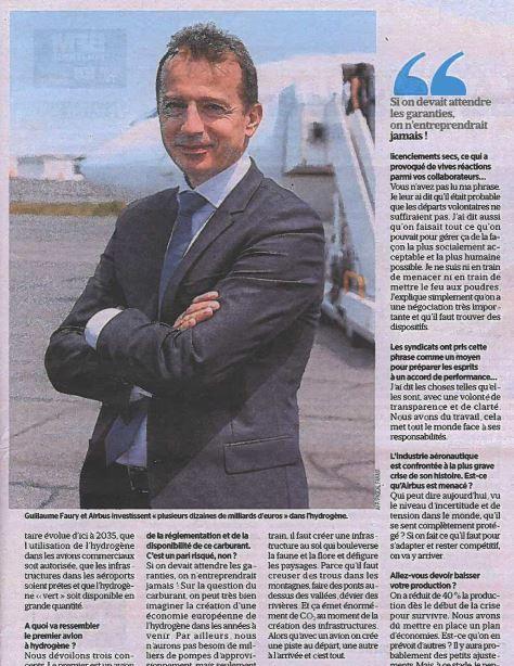"""A la une de @le_Parisien du 21/09 : """"Hydrogène : ça décolle enfin !"""" @GuillaumeFaury CEO @Airbus dévoile les projets d'#avions à #hydrogène du groupe. Objectif : un aéronef zéro émission en 2035 #AIRBUSZEROe #aéronautique #propulsion #environnement https://t.co/J6L7gaUYRs"""
