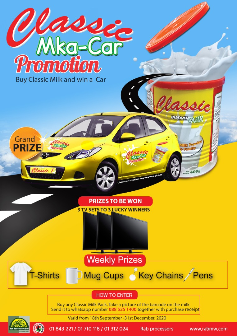 CLASSIC MKA-CAR PROMOTION  Buy any Classic Milk Pack, Take a picture of the barcode on the milk send it to whatsapp number 0885251400 together with purchase receipt.  More Info :-https://t.co/IsWwpuyB5O  #Promotion #Mkacar #MkacarPromotion #WinBig #WinWin #RabGroup #Rabprocessors https://t.co/UtBUMNYFF0