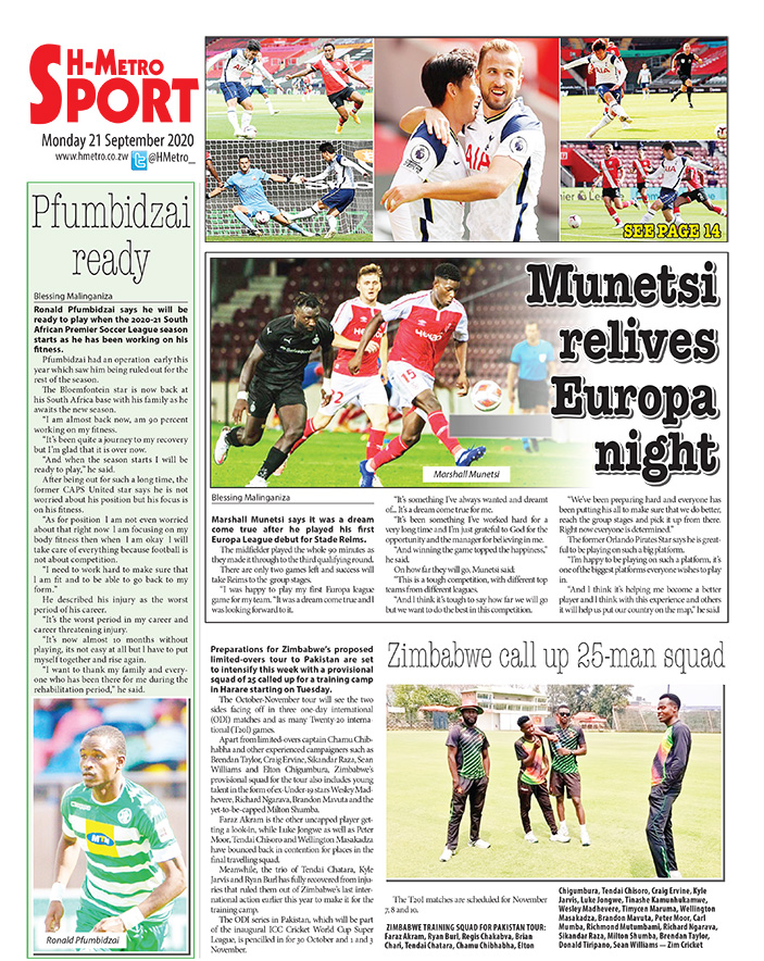 Todays back page. More stories on hmetro.co.zw