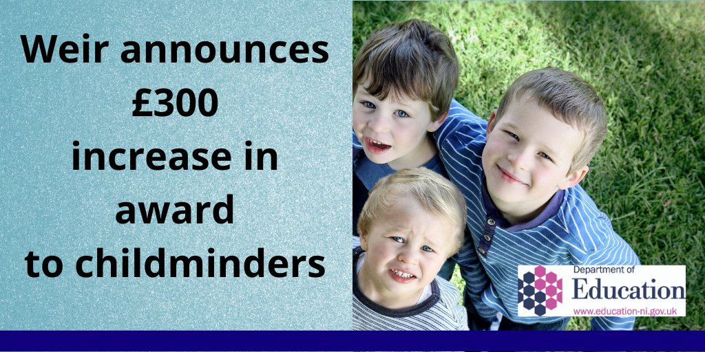 Education Minister Peter Weir has today announced a £300 increase in the award to childminders from the Childcare Recovery Support Fund. https://t.co/0e0XWcrBRz https://t.co/IZlOU39uHN