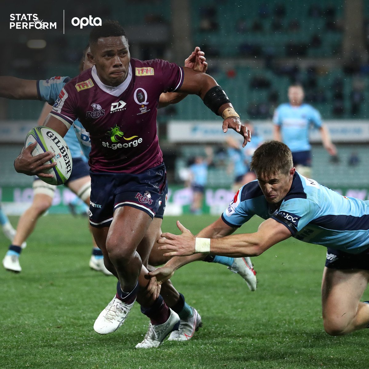 1 - @Reds_Rugby's Filipo Daugunu scored more tries (6), made more carries (117), gained more metres (771), beat more defenders (36), and made more offloads (13) than any other player in #SuperRugbyAU. Highlights. https://t.co/uTrhEcMRag