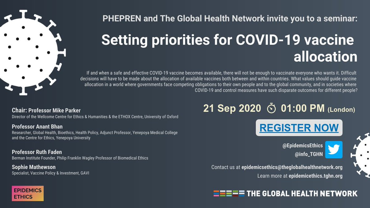 SEMINAR TODAY: don't forget to register for the @EpidemicsEthics seminar where the panel chaired by @michaelethox will discuss priority setting for vaccine allocation for COVID-19.  1PM (London) - secure your place now: https://t.co/tjB14pvXen https://t.co/GO0DRvuj8x
