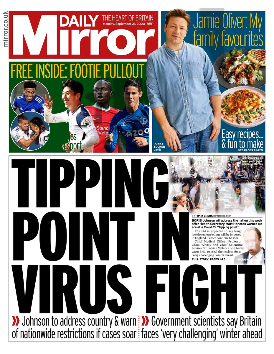 Tipping Point In Virus Fight. Johnson to address country & warn of nationwide restrictions if cases soar . Government scientists say Britain faces 'very challenging' winter ahead ~ https://t.co/Ny5YVaoA6R @PippaCrerar  #frontpagestoday #UK #DailyMirror #buyapaper 🗞 👍 https://t.co/VoCsaXiFqm
