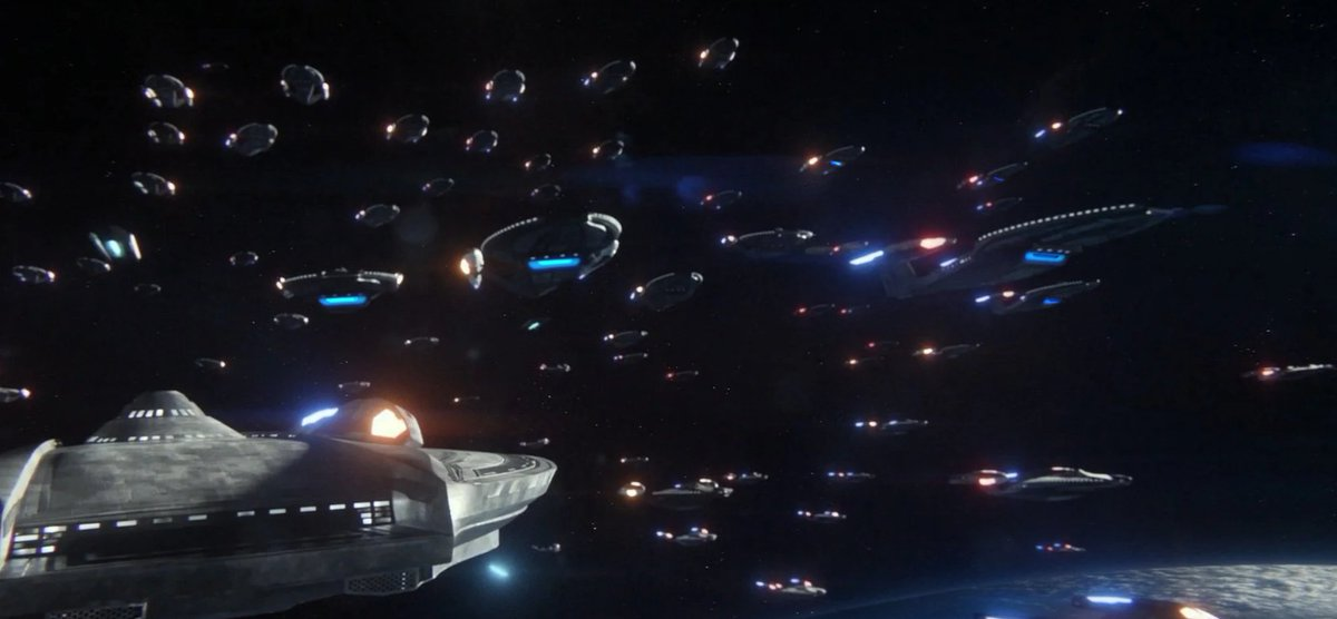 So I had a wee bit of spare time on my hands and decided to photoshop some quick deflector dishes onto the Inquiry-class from Star Trek: Picard.  what an improvement a little bit of extra light makes. https://t.co/u3OBLMV6g2