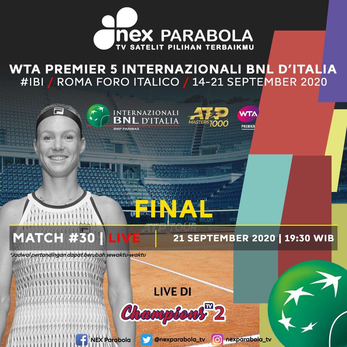Final WTA Premier 5 Internazionali BNL D'Italia✨ Saksikan pertandingan Internazionali BNL D'Italia 21 September 2020  Match 30 pukul 19:30 WIB LIVE hanya di receiver Nex Parabola Channel Champions TV 2  #nexparabolatv #wta #ibi https://t.co/u22uHVWHDv