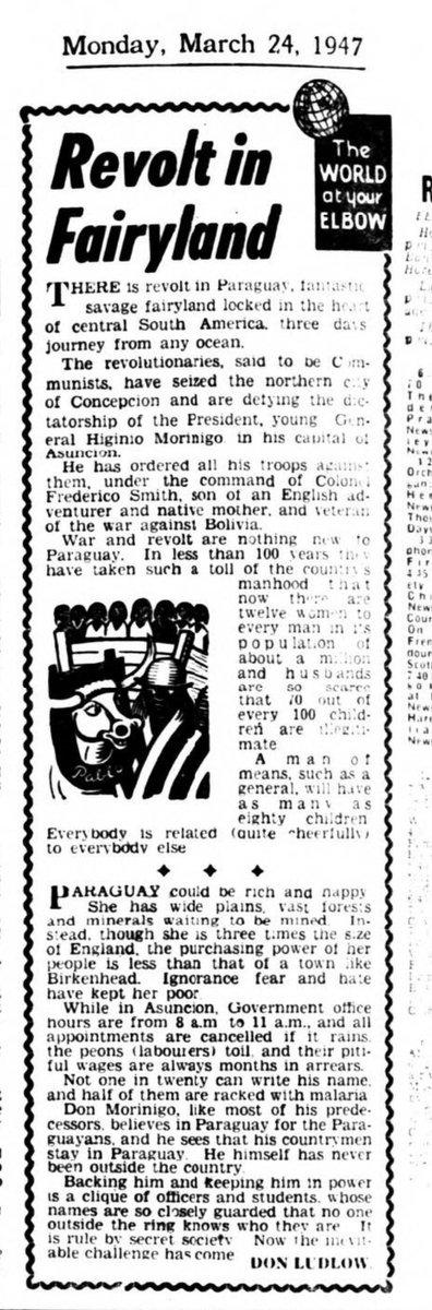 """#Historia: El #Paraguay era visto en 1947 en Gran Bretaña como """"un salvaje y fantástico lugar de cuentos de hadas"""", y donde """"todos alegremente son parientes de todos"""", con la noticia del desarrollo inicial de la #Guerra Civil.   FUENTE: Daily Mirror, Londres: 24 de marzo de 1947. https://t.co/ImvbXCx0TZ"""
