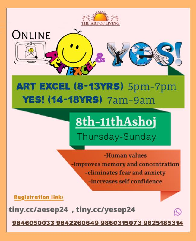 We are Happy to Announce yet another @ArtofLiving @Children_Teens Programs   8th - 9th Ashoj  Online ART EXCEL for 8 - 13 yrs old https://t.co/kTzYDfXYyf  Online YES! for 14 - 18 yrs old from .  https://t.co/teVSJmyaAi  Enroll your Kids & Teens :)  For all queries📞  9825185314 https://t.co/daaK7DqImc