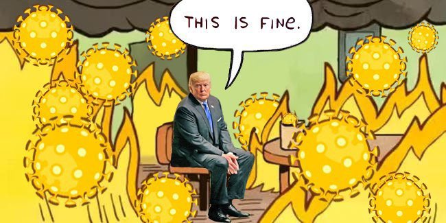 Yeah. everything is OK Trump. Don't make yourself worry more than this... #coronavirus  #COVID19  #TrumpVirus  #COVID19Vic https://t.co/Ty2f22e6Hi