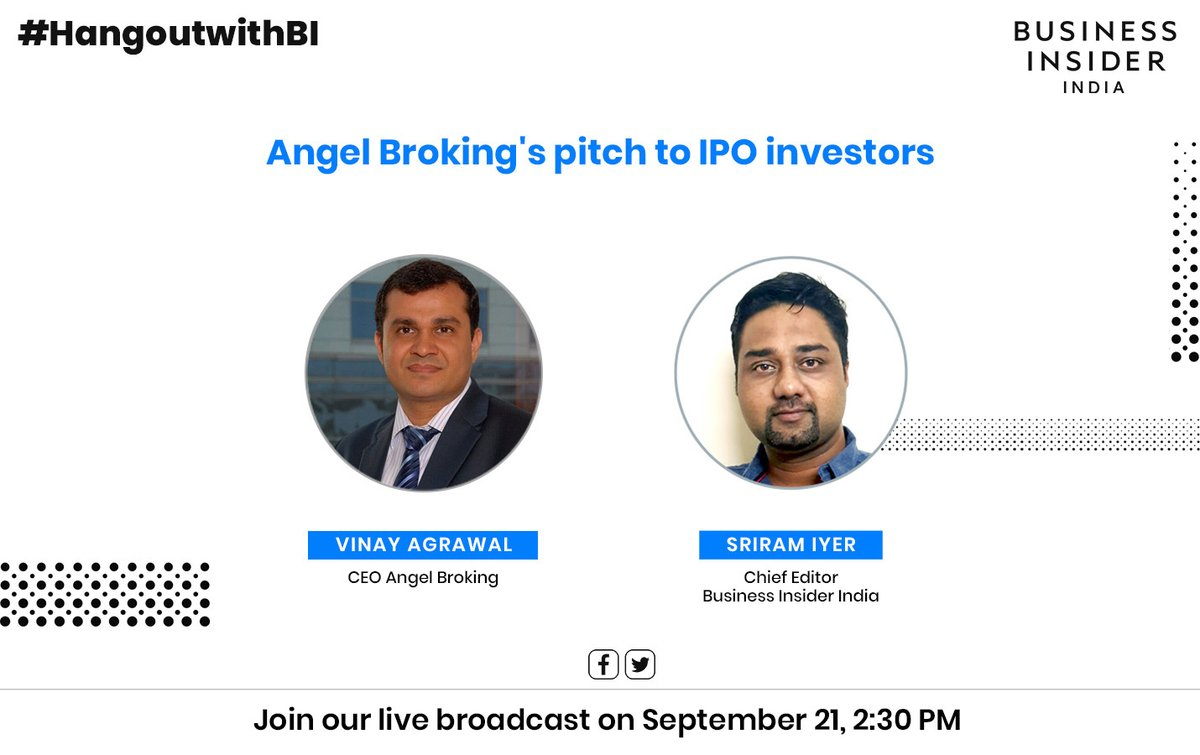 #HangoutwithBI | Catch @iyer_sriram in conversation with  Vinay Agarwal of @AngelBrokingLtd today at 2:30PM on @BiIndia's Twitter and Facebook timelines.  Do tune in! #FacebookLive #TwitterLive https://t.co/5uvshrLDu8