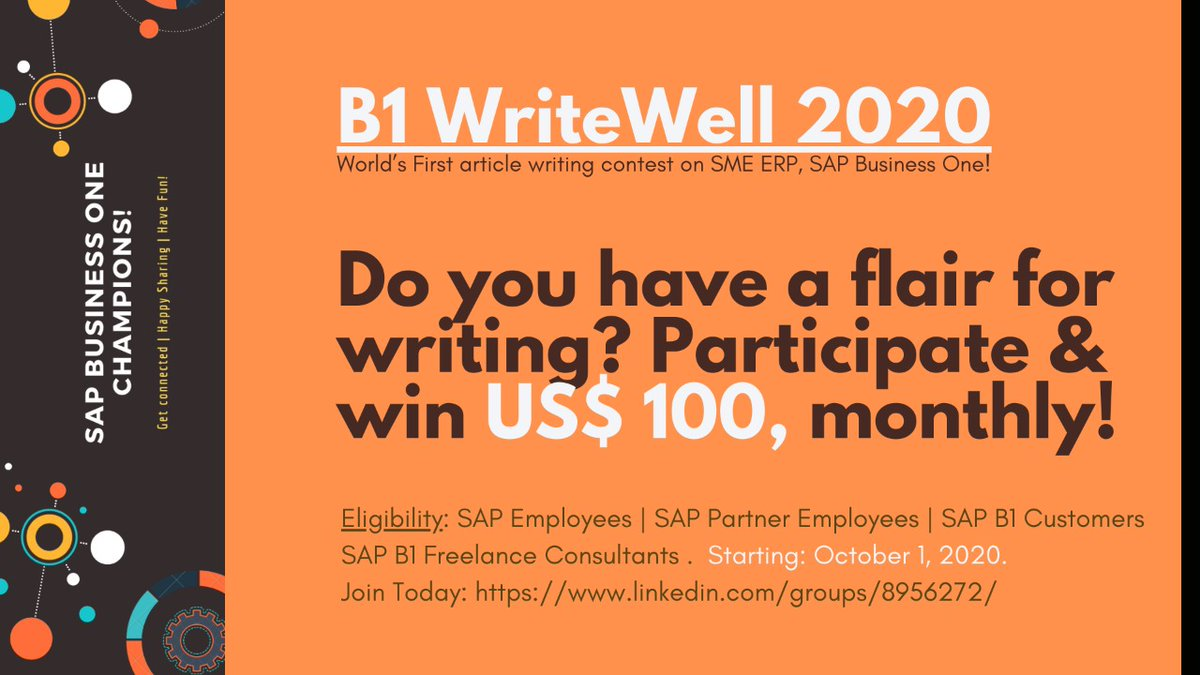 #technicalwriting #writer #writers #contest #sme #erp #sap #sapbusinessone https://t.co/cbe9Glw5ho