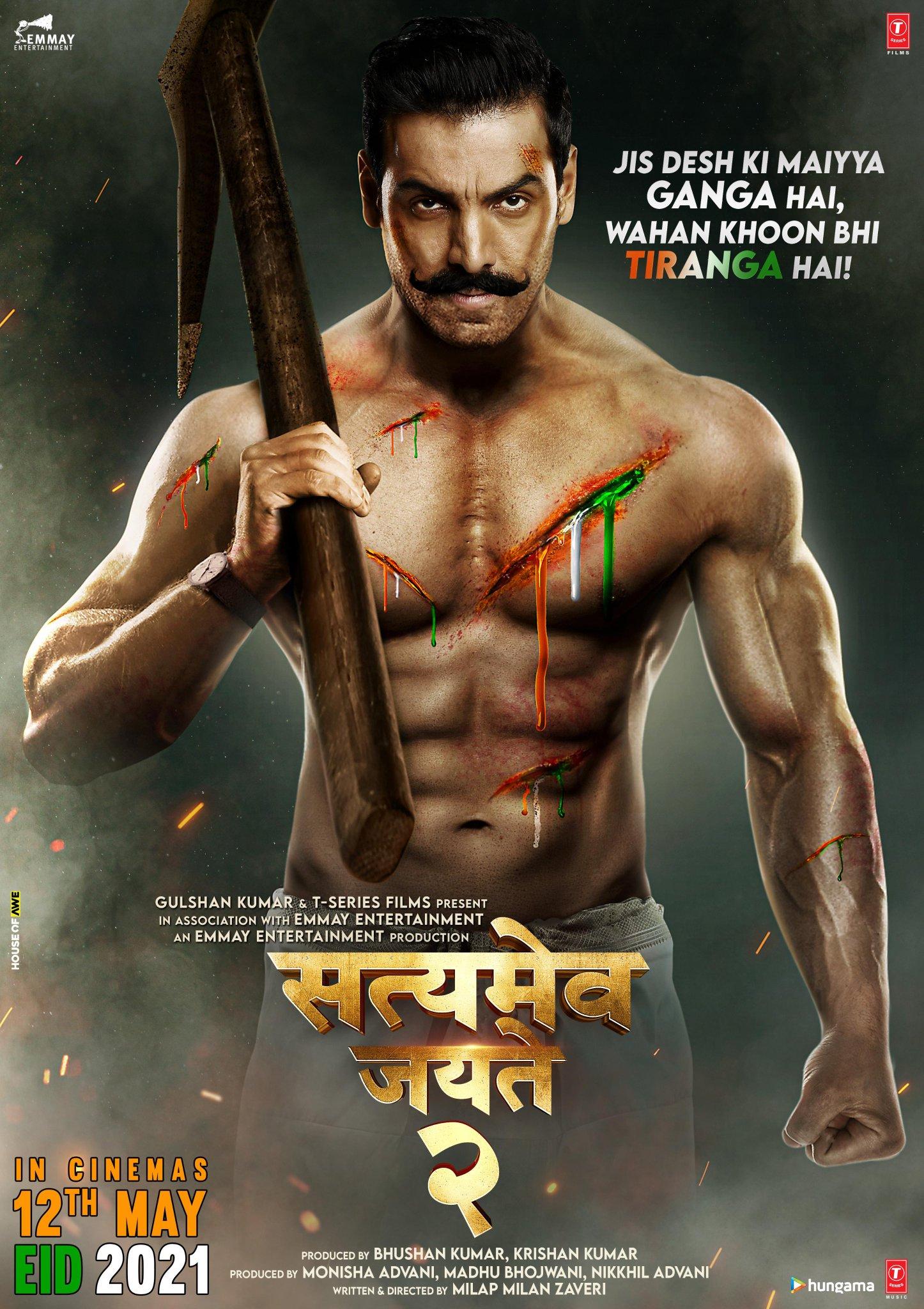"""SantaBanta.com on Twitter: """"Jis desh ki maiyya Ganga hai, wahan khoon bhi Tiranga hai! #SatyamevaJayate2 in cinemas on 12th May, EID 2021. #SMJ2EID2021 @TheJohnAbraham @DivyaKhoslaKumar @MilapZaveri @monishaadvani @madhubhojwani @nikkhiladvani ..."""