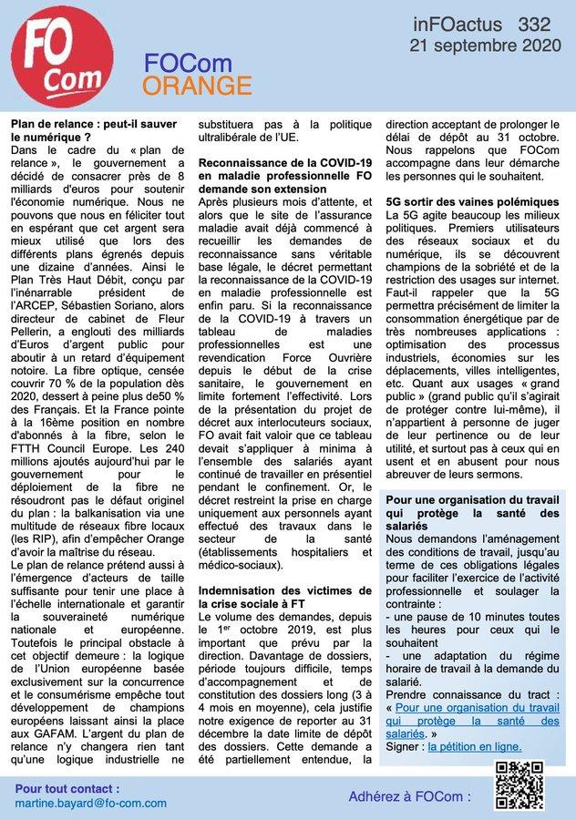 [ ACTU / INFOACTUS 21 SEPT. ] 📌Plan de relance #numerique  📌Reconnaissance de la #COVID19 #maladieprofessionnelle FO demande son extension 📌Indemnisation des #victimes de la crise sociale à #FT 📌#5G 📌Pour une organisation du travail qui protège la #santé des salariés #orange https://t.co/CGxwqrvHC5