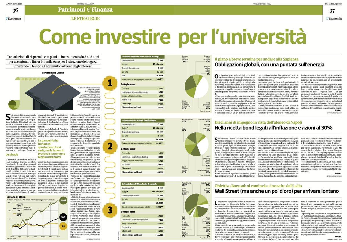 Non c'è investimento più fruttuoso, per una famiglia, che valorizzare il percorso di studi dei figli. Oggi su @L_Economia del @Corriere abbiamo fatto i conti: tre budget e tre piani finanziari per finanziare le spese dell' #università, dalla Sapienza alla Bocconi https://t.co/L8j1FnqPe8
