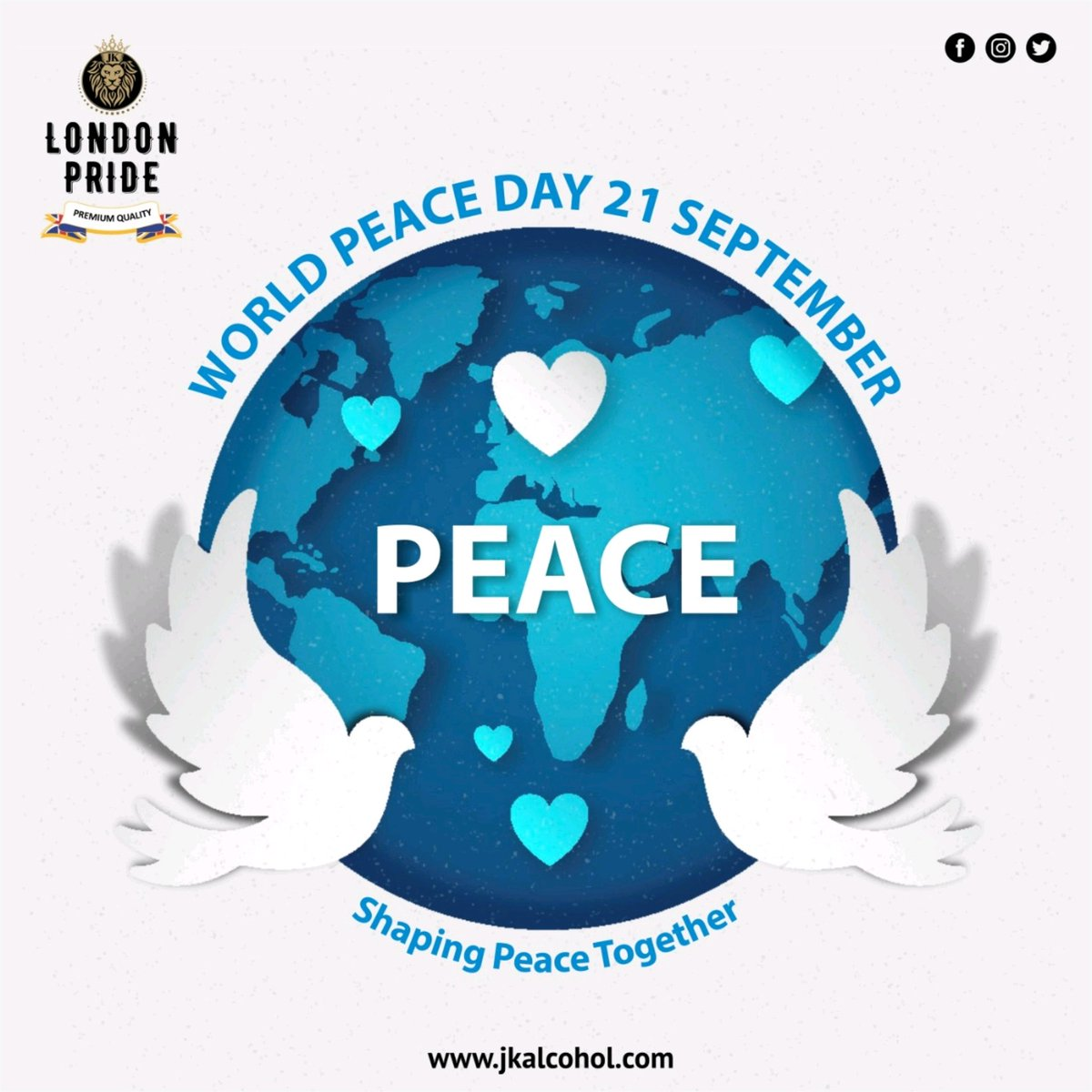 On this International Day of Peace, let's do our part in igniting the feeling of calmness, tranquility, and sanctity amongst people even in the tough times of today. . #InternationalPeaceDay #internationaldayofpeace #worldpeaceday #jkalcohol #Jkgroup #JkEnterprises #londonpride https://t.co/7rqUgJIUYc